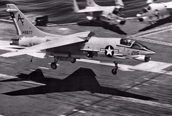 An F-8H from VF-202 landing aboard John F. Kennedy, in 1971.