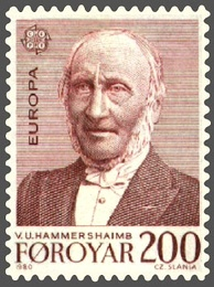 A stamp commemorating V. U. Hammershaimb, a 19th-century Faroese linguist and theologian