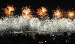 Copacabana in Rio de Janeiro hosts one of the world's largest fireworks displays on New Year's Eve, attracting millions of spectators.