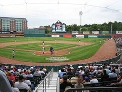 Double-A baseball game in action: New Hampshire Fisher Cats