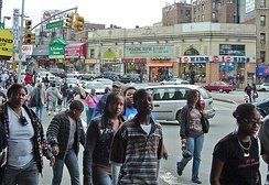 Street scene on Fordham Road, a major street in the Bronx