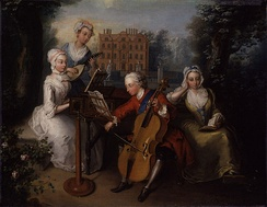 A musical portrait of Frederick, Prince of Wales, and his sisters by Philip Mercier, dated 1733, using Kew Palace as its plein-air backdrop