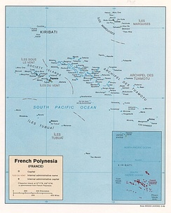 French Polynesia(Tahiti center left, with Gambiers to the southeast)