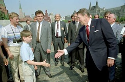 Reagan and Gorbachev touring Red Square in Moscow during the Moscow Summit, 31 May 1988