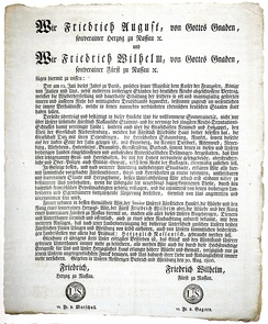 Declaration of Nassau's sovereignty, 30 August 1806