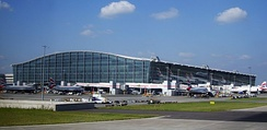 Heathrow Terminal 5 building. London Heathrow Airport is one of the busiest airports by international passenger traffic worldwide[301][302]