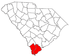 Location of the Hilton Head Island-Bluffton-Beaufort Metropolitan Statistical Area in South Carolina