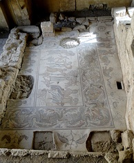 Upper part of Hippolytus mosaic in Madaba