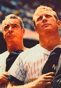 DiMaggio and Mickey Mantle at Yankee Stadium, 1970, two years after Mantle's retirement