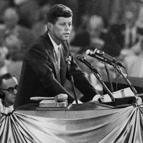 Kennedy endorsing Adlai Stevenson II for the presidential nomination at the 1956 Democratic National Convention in Chicago