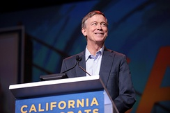 Hickenlooper speaking to the California Democratic Party State Convention in June 2019.