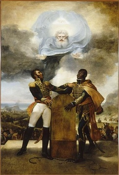Pétion and Dessalines swearing allegiance to each other before God; painting by Guillon-Lethière