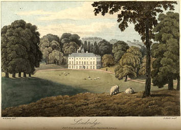 Lindridge, engraving c. 1818. View of west front