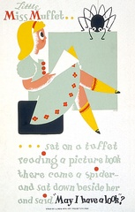 1940 WPA poster using Little Miss Muffet to promote reading among children.