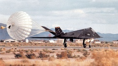 8th Fighter Squadron F-117A Nighthawk stealth fighter 86-0840 landing at Holloman AFB, New Mexico, 2000.