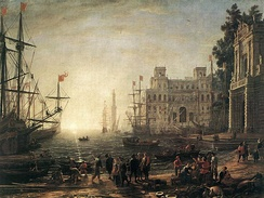 Seaport, a 17th-century depiction by Claude Lorrain, 1638