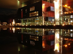 The Lucerne Culture and Congress Centre at night