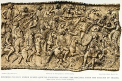 Mauretanian cavalry under Lusius Quietus fighting in the Dacian wars, from the Column of Trajan