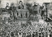 The 1882 lynching in Seattle, drawn by A. W. Piper