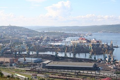 The harbour of the Murmansk Fjord.