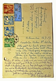 Postcard from Nikos Kazantzakis to his physician Max-Hermann Hörder, 13 September 1957, Chongqing