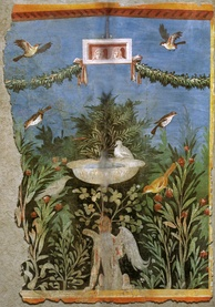 Birds and fountain within a garden setting, with oscilla (hanging masks)[339] above, in a painting from Pompeii
