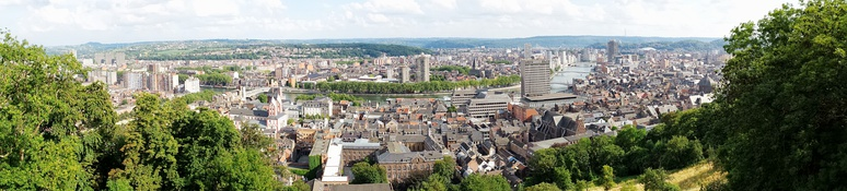Panorama of the city of Liège. Photo taken from the heights of the Citadel (left bank of the River Meuse).