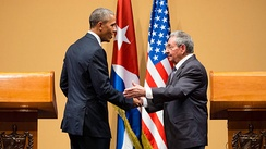 Raúl Castro and U.S. President Barack Obama at their joint press conference in Havana, Cuba, 21 March 2016
