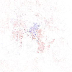 Map of racial distribution in Huntsville, 2010 U.S. Census. Each dot is 25 people: White, Black, Asian, Hispanic or Other (yellow)