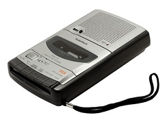A typical portable desktop cassette recorder from RadioShack.