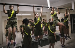 Recruits training in barracks