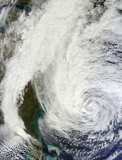 Hurricane Sandy intensifying along the axis of the Gulf Stream in 2012.