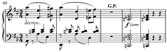 Grand pause ( Play (help·info)) in Franz Schubert's D. 759, I, mm.60-4. (without G.P.:  Play (help·info))
