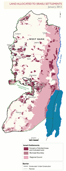 Parts of the West Bank allocated to the settlements, as of January 2012 (in pink and purple color). Access is prohibited or restricted to Palestinians.