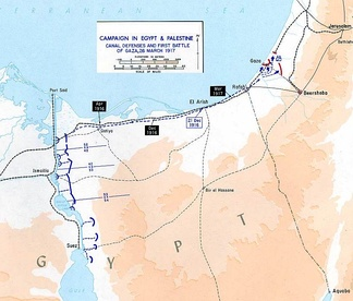 Assault on Gaza 1917 showing Suez Canal defences and lines of communication across the Sinai Peninsula