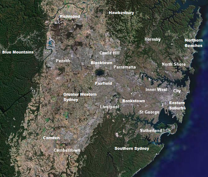 Satellite image of Sydney taken in 2007 with some of its prominent regions and suburbs labeled.