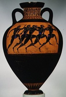 Panathenaic prize amphora for runners; circa 530 BC; terracotta; height: 62.2 cm (24​1⁄2 in.); Metropolitan Museum of Art (New York City)