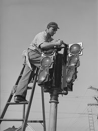 The installation of a traffic signal in San Diego in December 1940