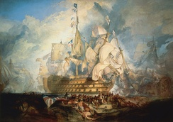 "The Battle of Trafalgar by J. M. W. Turner (oil on canvas, 1822–1824) shows the last three letters of the signal, ""England expects that every man will do his duty"" flying from Victory"
