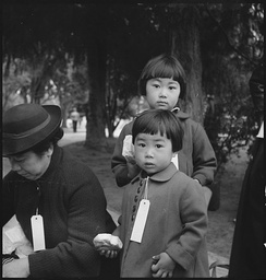 Hayward, California, May 8, 1942. Two children of the Mochida family who, with their parents, are awaiting evacuation bus. The youngster on the right holds a sandwich given her by one of a group of women who were present from a local church. The family unit is kept intact during evacuation and at War Relocation Authority centers where evacuees of Japanese ancestry will be housed for the duration.(Photo by Dorothea Lange).