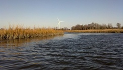 University of Delaware's wind turbine seen from Canary Creek