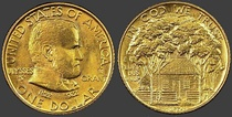 Image of Grant on the One dollar gold piece, depicting date of mintage, 1922
