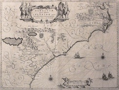 Map depicting the Colony of Virginia (according to the Second Charter), made by Willem Blaeu between 1609 and 1638