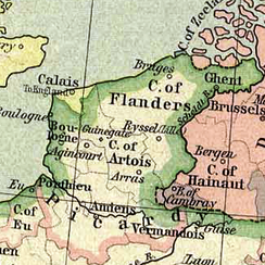 Map showing the situation of 1477, with Calais, the English Pale and neighbouring counties
