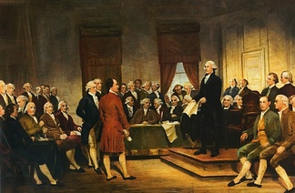 A painting depicting George Washington at the Constitutional Convention of 1787 signing of the U.S. Constitution