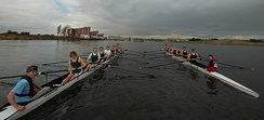 Swansea and Cardiff Universities Men's Senior eights during The Welsh Boat Race in 2006