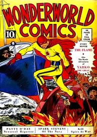Superheroes have been a staple of American comic books (Wonderworld Comics #3, 1939; cover: The Flame by Will Eisner).