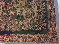 Detail of a woven carpet fragment, German, ca. 1540, wool, symmetric knots, 850-1500 kpsdm