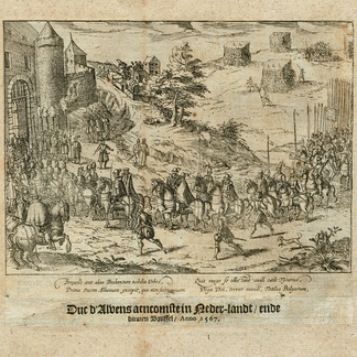 The arrival of the Duke of Alba in Brussels, 1567. Print from 'The Wars of Nassau' by Willem Baudartius, Amsterdam 1616