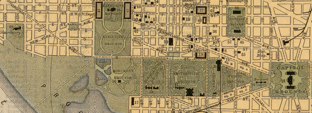 "Map of the Mall in 1893 showing the Monument Grounds, Agricultural Grounds, Smithsonian Grounds, Armory Square, Public Grounds and Botanical Garden, as well as parts of the recently created ""Tidal Reservoir"" and ""Proposed Park""[20]"